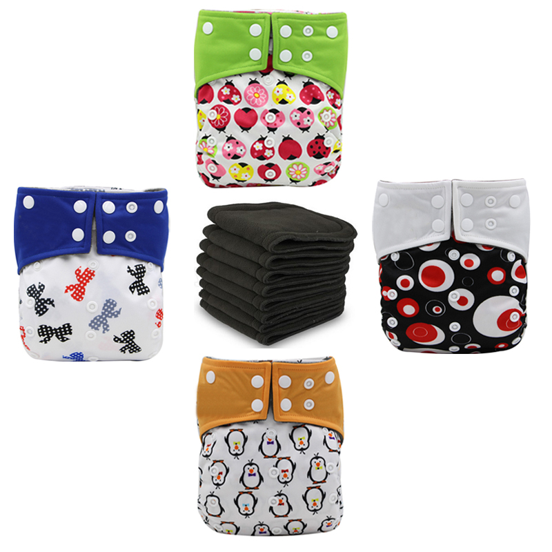 Reusable Baby Clothes Diaper Double Guest Night Two Pockets Nappies 4 Bamboo Charcoal Cloth Diapers + 4 Superabsorbent Inserts