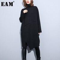 [EAM] 2018 New Autumn Winter High Collar Long Sleeve Back Knitting Irregular Vent Hem Loose Dress Women Fashion Tide JK021