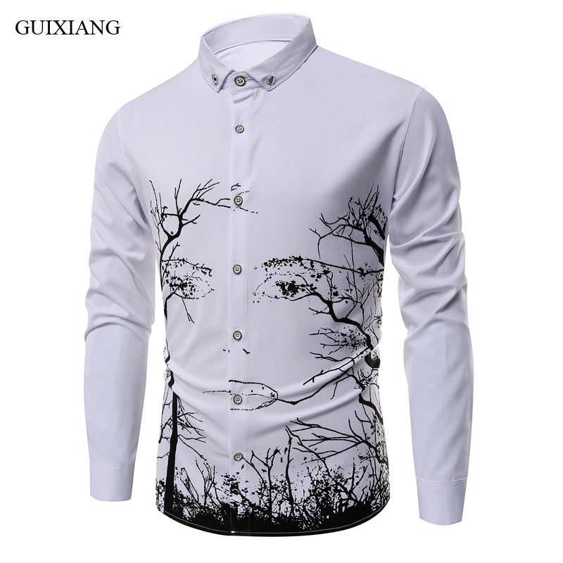2018 New summer style men long sleeve shirt fashion casual slim printing pattern long shirt men's leisure long sleeve shirt