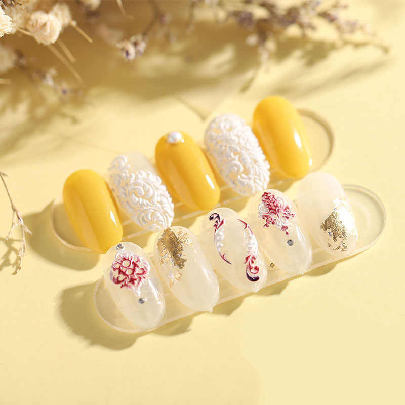 1 pc 3D อะคริลิคแกะสลักดอกไม้เล็บสติกเกอร์ลายนูนสีชมพู, ดอกไม้สีขาว Decals Empaistic เล็บ Decals สไลด์น้ำ Z0106