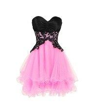 Rongniuniu 2018 Short Bridesmaid Dress Black Lace Up Tulle P
