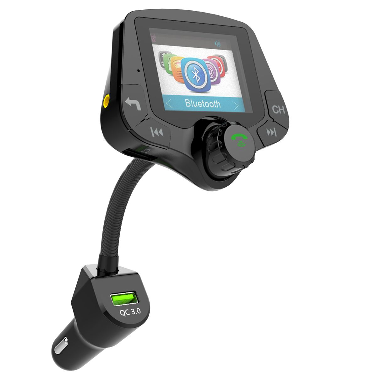 G24 HD Color Screen Wireless Car Kit Bluetooth MP3 Player Hands free Calling FM Transmitter Car Kit support QC 3.0 Fast charger-in FM Transmitters from Automobiles & Motorcycles