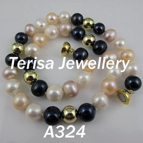 Nouveau Livraison Gratuite A324 #, new Mix Couleur Perles D'eau Douce Collier 10-11mm 45 cm (18 pouces) 10mm Or Perles De Mode Perles Collier.