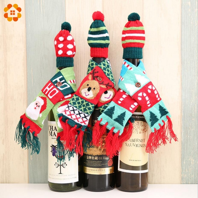 1set 2pcs cute christmas bottle sets santa clausdeer wine bottle cover holders diy - Christmas Bottle Decorations