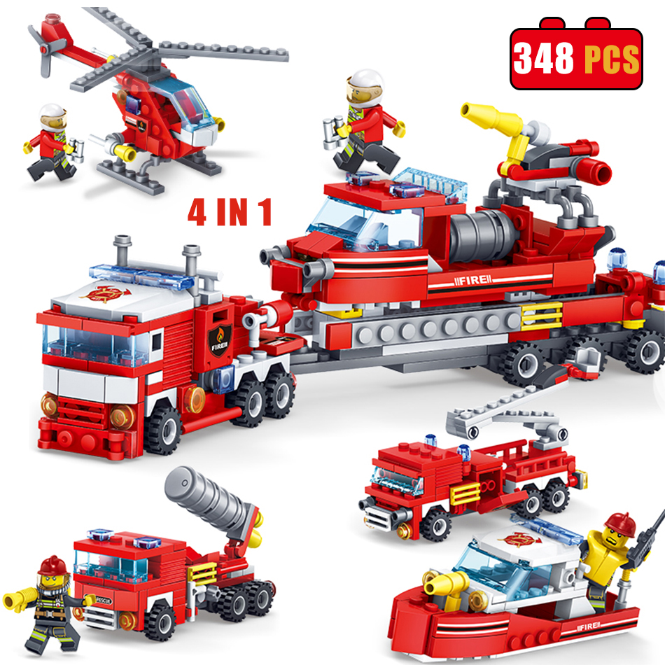 KAZI Toys 348PCS City Construction Series Building Blocks DIY Fire Station Bricks Christmas Gift For Kid Compatible Legoe City kazi 6726 police station building blocks helicopter boat model bricks toys compatible famous brand brinquedos birthday gift