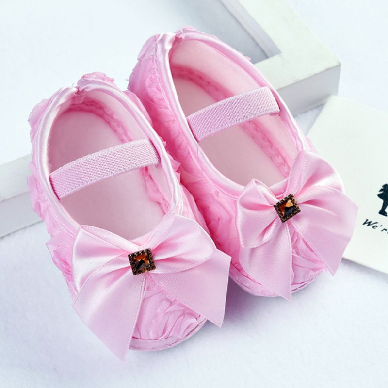 Baby Girl First Walker Todder Prewalker Shoes Rose Flowers Bow Princess Newborn Baby Soft Sole Shoes