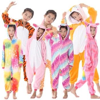 ae5d93b1a8 Kigurumi Onesie niños animales Pijama niños de franela de invierno  unicornio Pijama niños niñas Cosplay pijamas ropa de dormir Bebé mono
