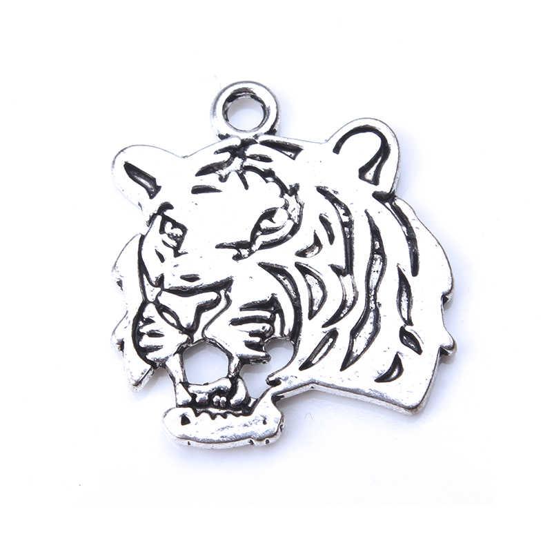 5 pçs/lote Simples Antique Silver Tiger Encantos Para Fazer Jóias DIY Handmade Craft 28mm * 25mm