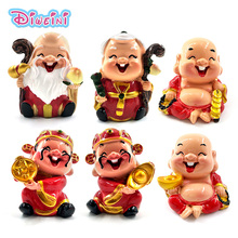 Chinese Red Gold of Wealth Monks model Figurine fairy Statue home mini garden decoration accessories decor doll  resin craft