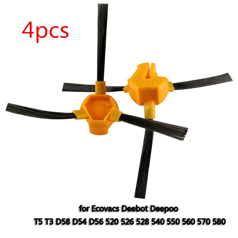 4 pcs/lot Side Brush for Ecovacs Deebot Deepoo D58 D54 D56 520 526 540 550 560 570 580 Vacuum Cleaner brush Accessories 3500mah 14 4v cleaner battery for ecovacs deebot d54 deepoo d56 d58 with free side brush