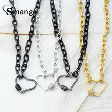 3Pieces, Women Fashion Shape of Heart Connectors CZ Prong Setting Necklace, Four Plating Colors,Can Mix