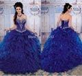 2017 de Alta Qualidade Azul Marinho Vestidos Quinceanera Vestidos de Baile Querida frisado sweet 16 15 anos vestido de vestidos de 15 anos QA414