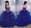 2017 de la Alta Calidad Azul Marino Vestidos de Quinceañera Vestidos de Bola Del Amor con cuentas sweet 16 dress 15 años vestidos de 15 anos QA414