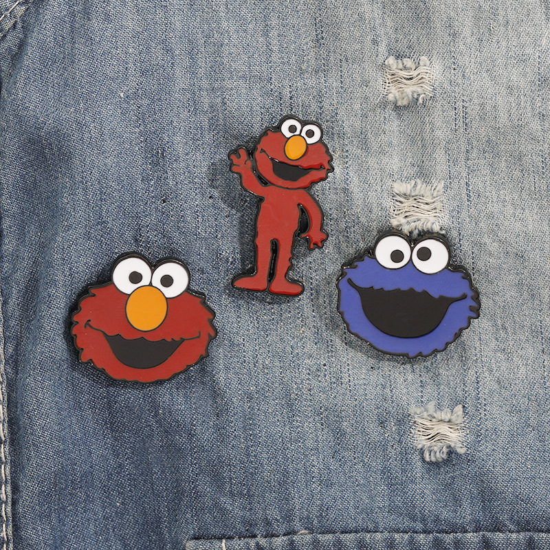 50PCS LOT Wholesale Classic Cartoon Sesame Street Enamel Pin Badge Buttons Brooch Anime Lovers Shirt Kids