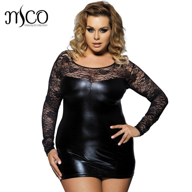 MCO Plus Size Long Sleeve Wet Look Embroidered Lace Slim Fit Mini Dress Sexy Party Faux Leather Clubwear Bodycon Dresses 5xl 6xl plus size women in leather