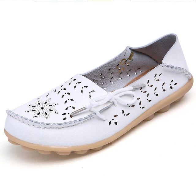 Kích thước lớn 34-44 2018 phụ nữ mùa xuân căn hộ giày phụ nữ căn hộ da chính hãng nữ giày dép nữ cutout trượt trên múa ba lê phẳng giày đế