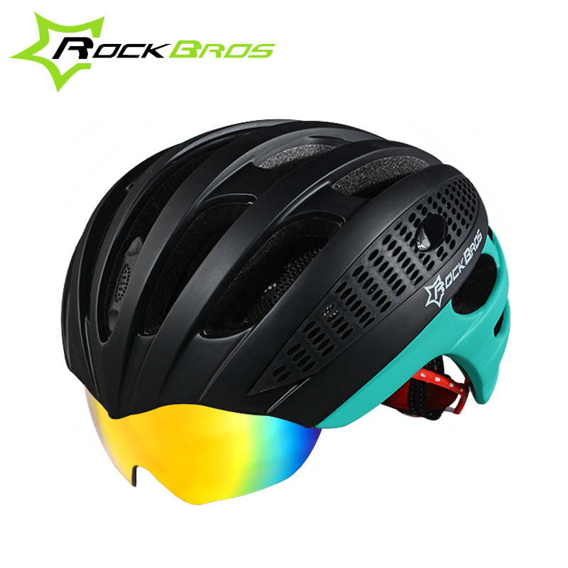 ФОТО Rockbros Unisex MTB Road Bike Bicycle Helmet Cycling Goggles Helmet +3 Lens Insect Net Breathable&Safer Downhill Casco Ciclismo