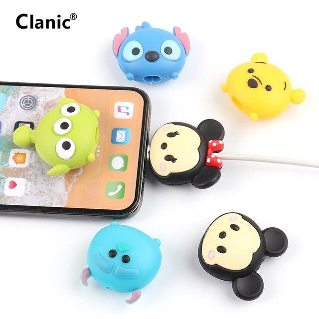 Dễ thương Phim Hoạt Hình Điện Thoại USB bảo vệ cáp cho iphone cáp chompers dây động vật cắn dây sạc chủ organizer bảo vệ