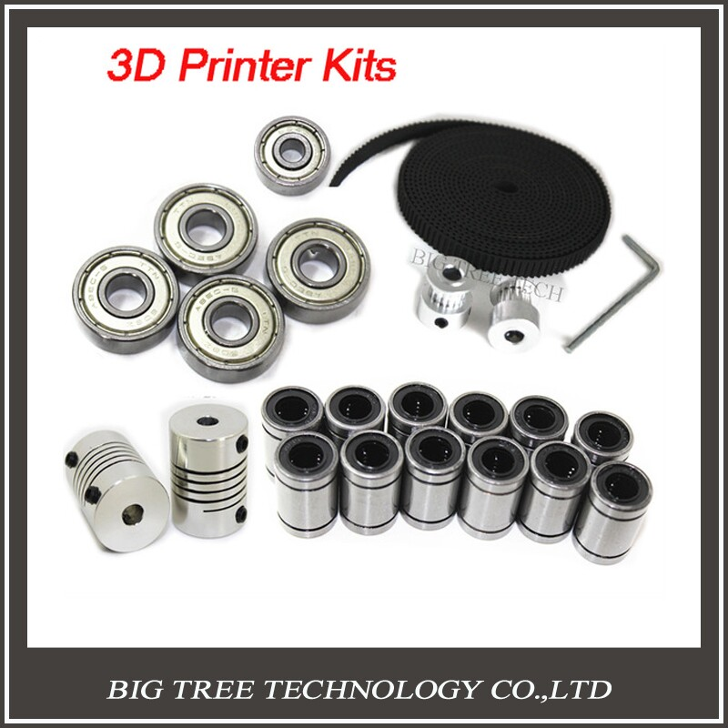 3d Printer Reprap Prusa I3 Movement Kit GT2 Belt Pulley 608zz Bearing Lm8uu 624zz Bearing
