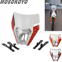 Para ktm sx125 sx150 sxf250 350 450 universal farol da bicicleta sujeira enduro motocross cabeça lâmpada para husqvarna tc te fe fc 125 350   -