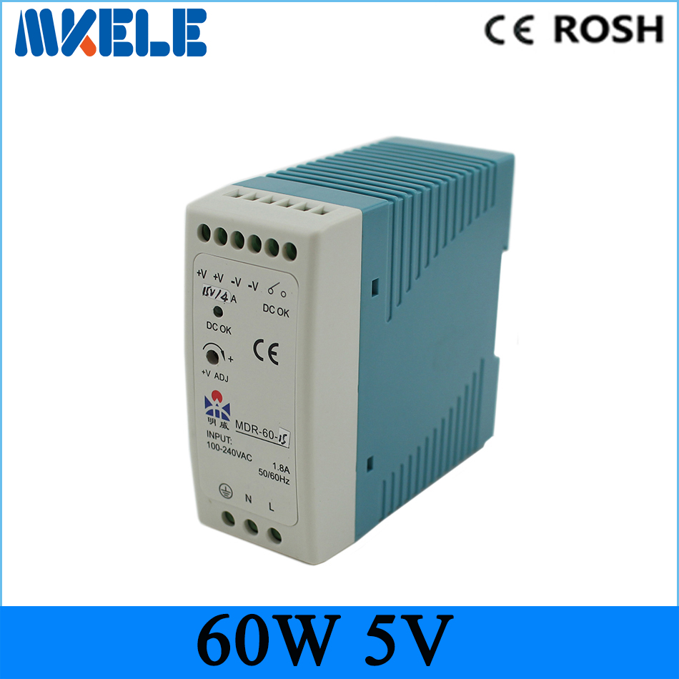 low price direct sale din rail smps 50w MDR-60-5 MDR series Din Rail 5v  10A switching power supply with CE certified low price direct sale din rail smps mdr 60 12 mdr series 12v 5a 60w ce switching power supply for led strip light lamp