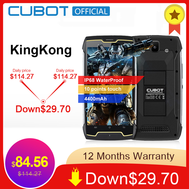 Cubot KingKong IP68 Waterproof Smartphone Dustproof Shockproof Cellular 5.0 Inch