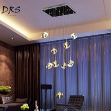 Nordic LED Crystal Pendant Lamp Rectangular Compound Building Lighting Modern Simple Creative Ice Crystal Chandelier Free Gratis(China)