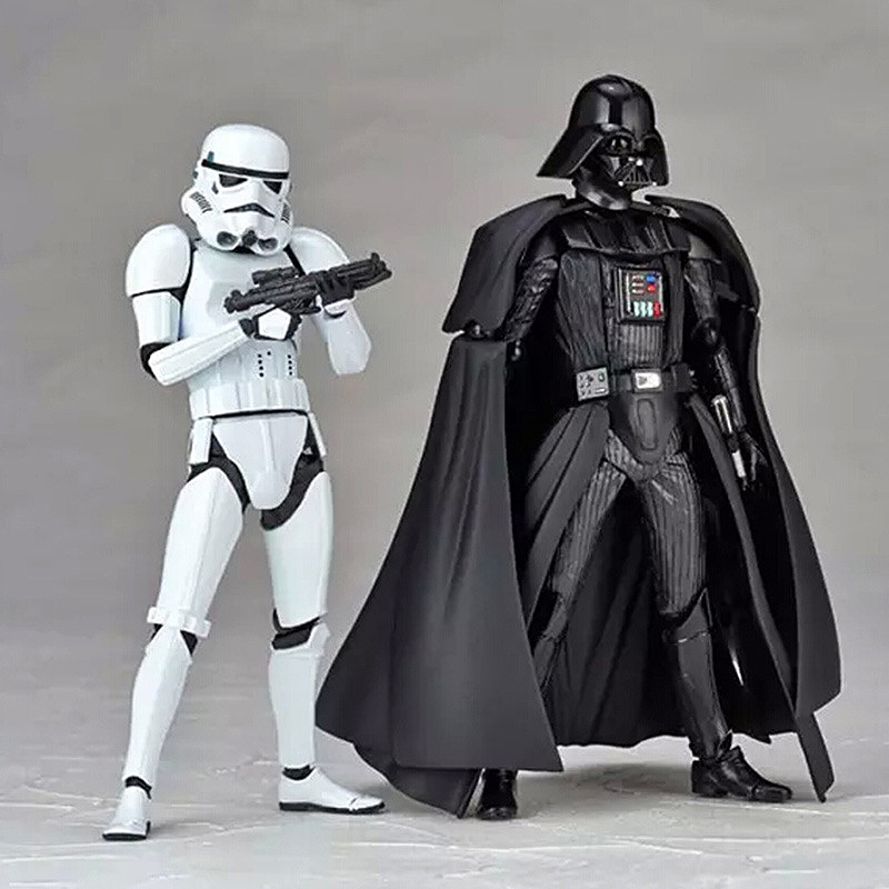 Star Wars Toy Black Darth Vader With Lightsaber White Stormtrooper With Gun DIY Action Figures Joints Moveable Toys
