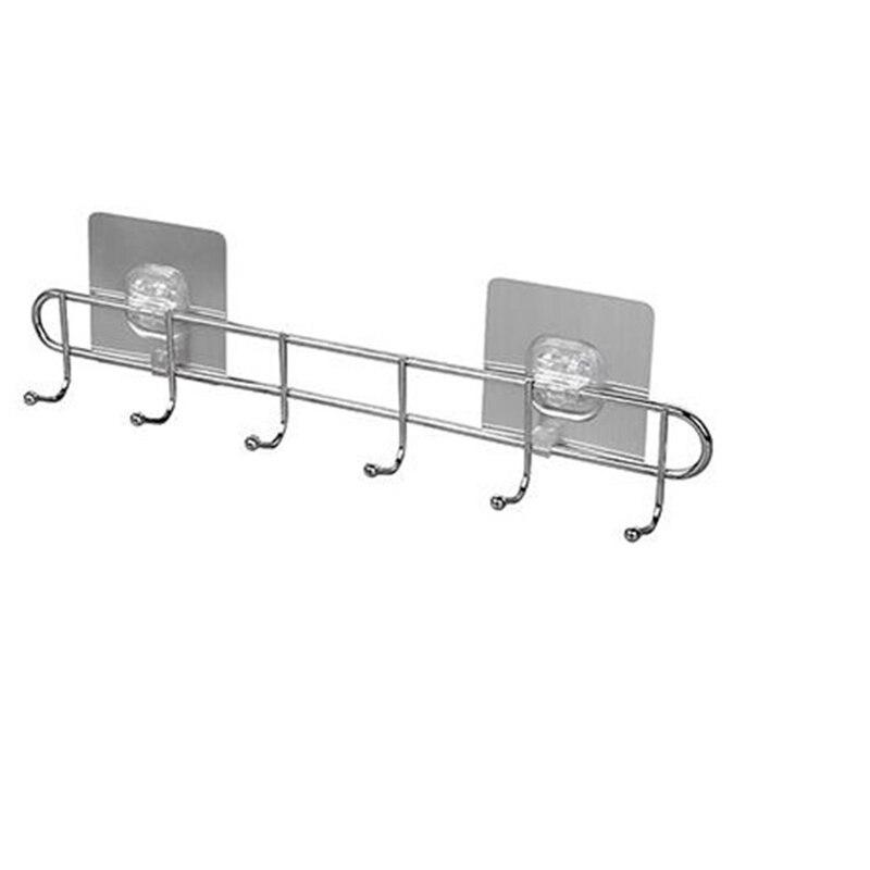 Support d'étagère de cuisine de salle de bains d'aspiration en plastique d'acier inoxydable avec 6 crochets