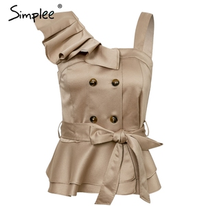 Image 4 - Simplee Sexy one shoulder irregular women camis tops Summer ruffle sashes khaki silk tanks blusas Elegant party female camisoles