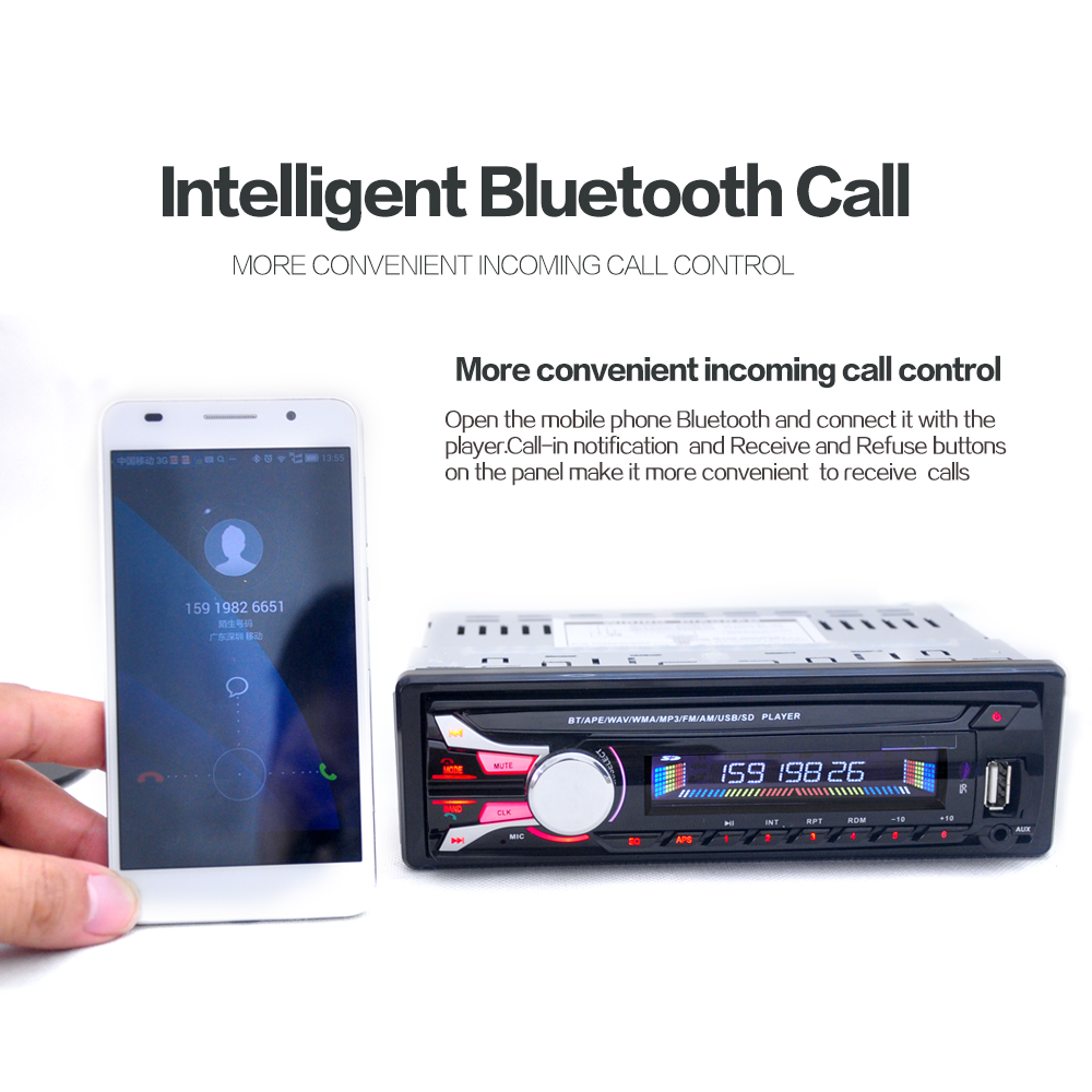 1DIN 12V Detachable Front Panel Car Stereo Radio FM MP3 Player Built in Bluetooth AUX Input with & USB Port & Remote Control