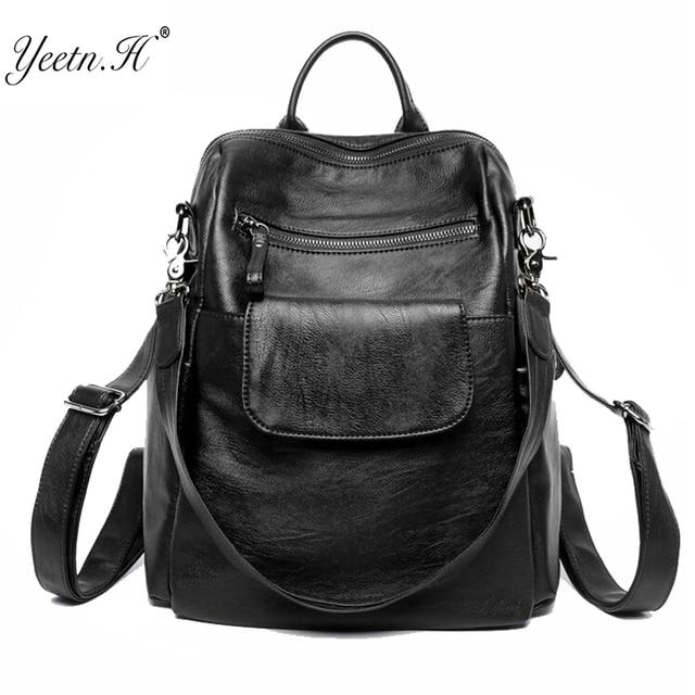 c2119f149cad Yeetn-H Новинка 2017 года Для женщин рюкзак из натуральной кожи модные  черные рюкзак дорожная