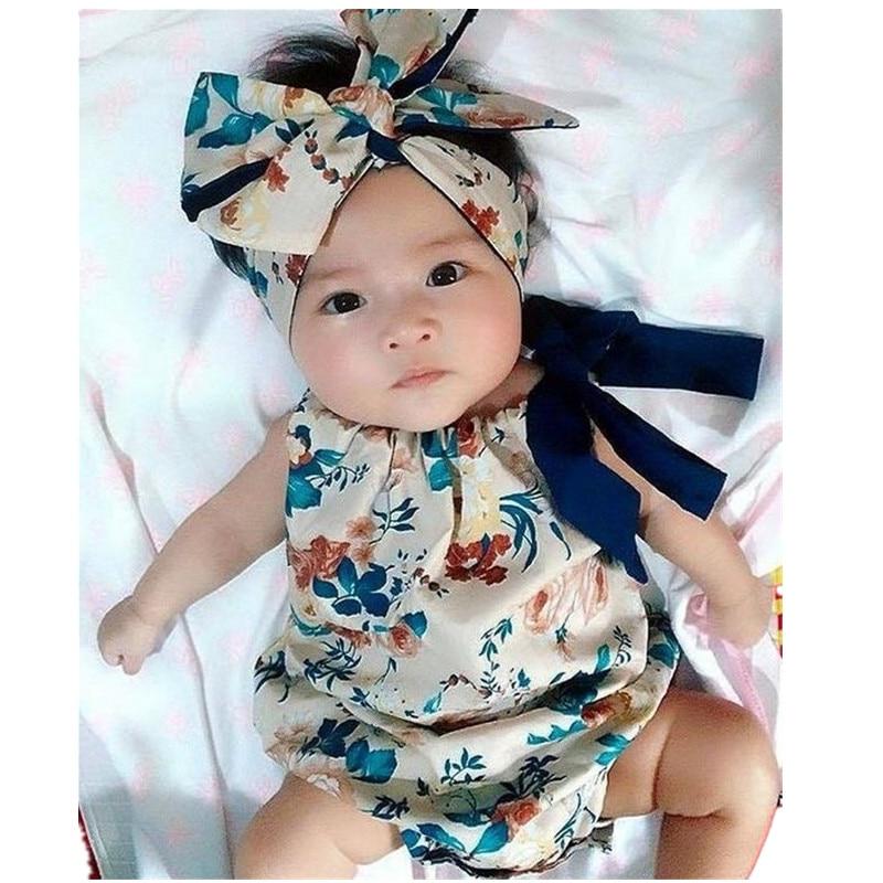 Neonata Vestiti della ragazza Estate senza maniche Halter Nappa pagliaccetto + Fascia 2pcs Outfit Toddler Bambini Sunsuit 0-24 M