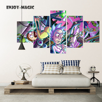 Home Decor Canvas Poster Rick And Morty Painting Wall Art Modern 5 Piece Oil Painting Picture