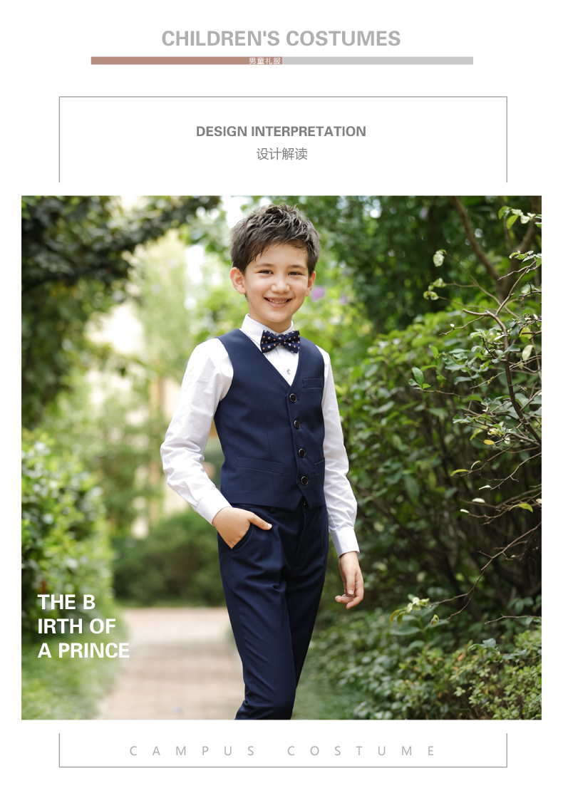 2017 Promotion Big Boys Vest Clothing Set Children Leisure Clothes Kids Wedding Prom Suits Christmas Costumes For Tie Shirt (3)