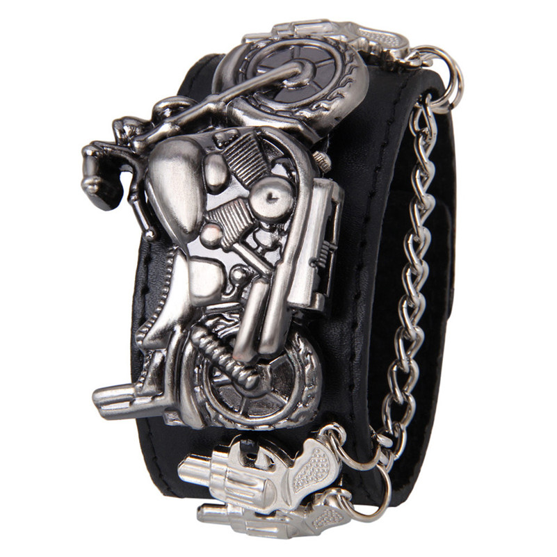9s & cheap Punk Rock Chain Skull Women Men Bracelet Cuff Gothic Wrist Watch high quality watch 0717