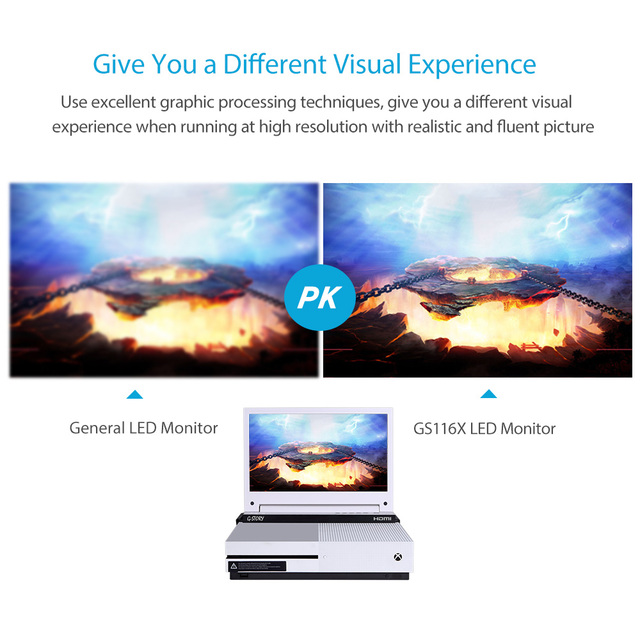 G-STORY 11.6'' HDR FHD 1080P Portable Eye-care Gaming Monitor For Xbox One S and Xbox One X 2