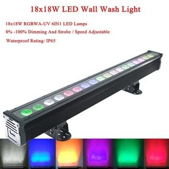 משלוח חינם 18x18 w RGBWA-UV 6IN1 Led קיר לשטוף אור DMX Led בר DMX קו בר לשטוף שלב אור עבור Dj חיצוני מקורה מנורה