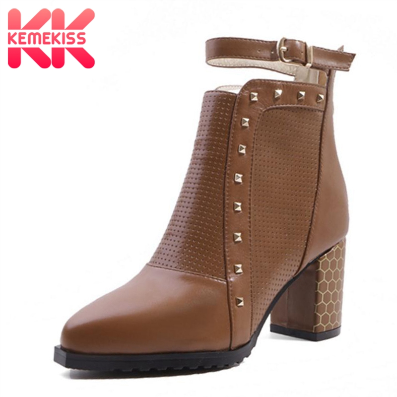 e31c973c765 Botas Cuero Negro Invierno Cortas Zapatos Tamaño Metal Moda Kemekiss Genuino  Sexy Mujer Hebilla 34 De ...