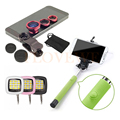 Phone Camera Lens Kit 3in1 Fisheye Lenses Macro Wide Angle Lentes Selfie Stick Monopod Selfie Flash Fill Light For iPhone Huawei