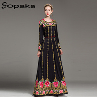2018 Newest High Quality Full Sleeve Sashes Black Big Floral Print Vintage Long Party Dress Runway