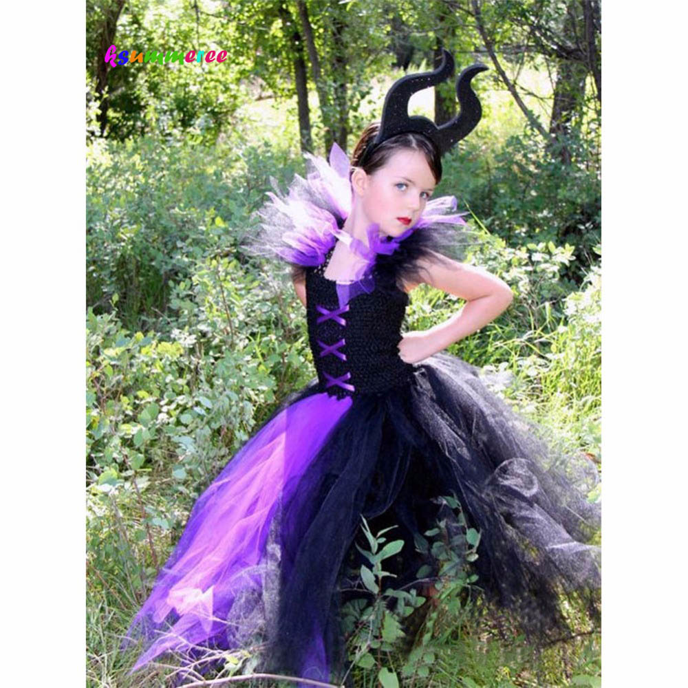 Maleficent Evil Queen Tutu Dress With Horns Girls Tutu Dress Halloween Party Purim Cosplay Children Costume Photo Props TS127