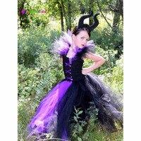 Малефисента зла Queen платье-пачка с рогами юбка-пачка для девочек платье на вечеринку в честь Хэллоуина Пурим Косплэй Детский костюм реквизи...
