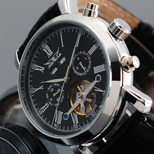 JARAGAR Mens Watches Top Brand Black Leather Band Designer Watch Mechanical Relojes Hombre Male Clock Horloges Mannen