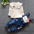 2016 Spring/Autumn Baby girls Clothing Set Kids girls Cowboy Suit Cotton T-shirt +Jeans 2pcs Suit Children Clothes Sets