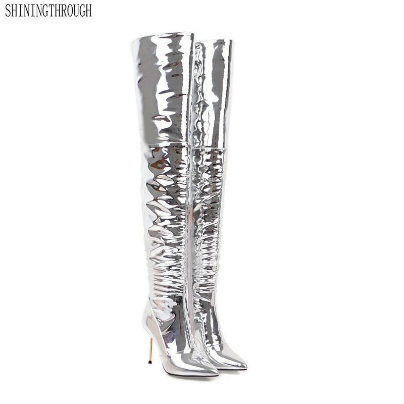 Plus size 43 New Women Thigh High Boots Fashion over the knee Boots Sexy High Heels Ladies Nightclub Party Shoes Woman memunia big size 34 43 over the knee boots for women fashion shoes woman party pu platform boots zip high heels boots female