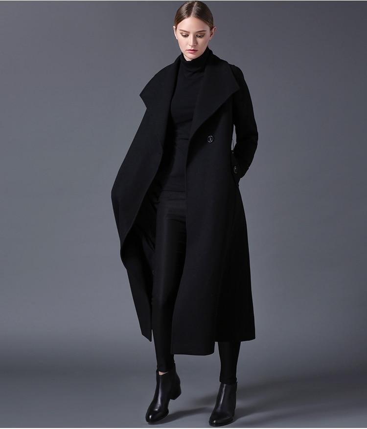 2018 hiver femmes de laine manteau revers noir foncé bleu longue section liste grande taille