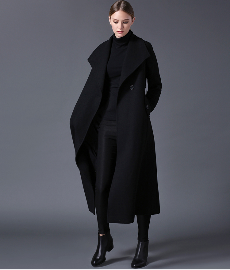 2019 hiver femmes manteau de laine de revers noir bleu foncé longue section liste grande taille