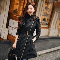 Dabuwawa Winter Long Cotton Coat New Fashion Black Slim Zippers Office Lady Thick Ruffled Cotton Coat D18DPD002