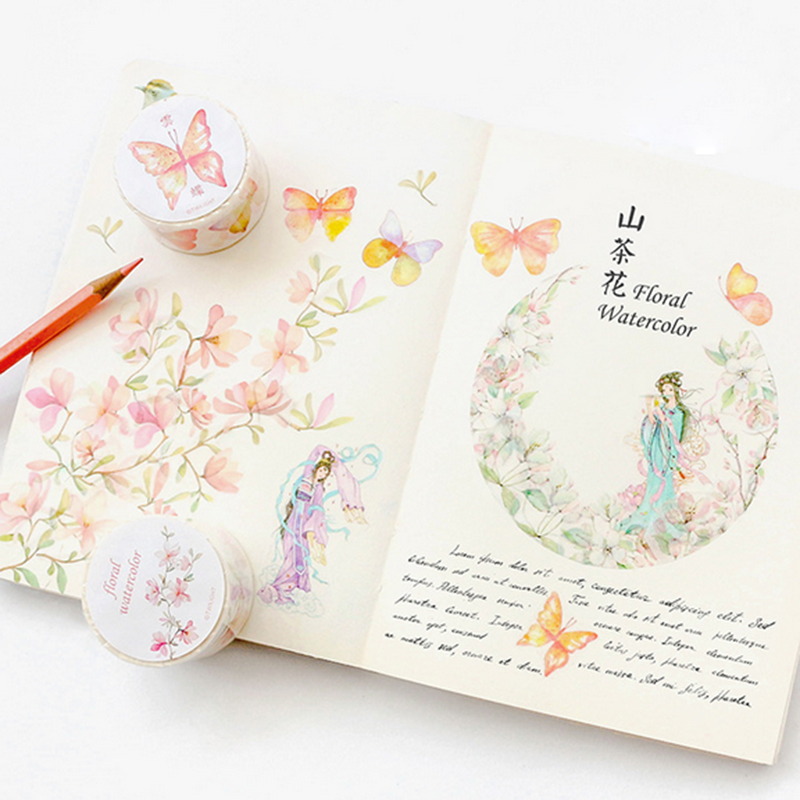 1X Kawaii flower series tape washi tape DIY decoration scrapbooking planner masking tape kawaii Self Adhesive Tape stationery in Office Adhesive Tape from Office School Supplies